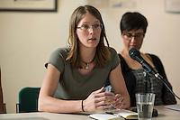"""Pressekonferenz des Aktionsbuendnis """"Ende Gelaende"""" zum Klimacamp in der Lausitz und der geplanten Blockade des Braunkohletagebau in der brandenburgischen Lausitz.<br /> Die Aktivisten erwarten bis zu 4.000 Menschen aus ganz Europa, die sich an den geplanten Blockaden des Tagebau vom 13. bis 16. Mai 2016 und einer Grossdemonstration am 14. Mai in Welzow beteiligen wollen.<br /> Das Buendnis """"Ende Gelaende"""" fordert den Ausstieg aus der Kohle und den Umstieg auf Erneuerbare Energie.<br /> Im Bild: Hannah Eichberger, Spressesprecherin """"Ende Gelaende"""".<br /> 11.5.2016, Berlin<br /> Copyright: Christian-Ditsch.de<br /> [Inhaltsveraendernde Manipulation des Fotos nur nach ausdruecklicher Genehmigung des Fotografen. Vereinbarungen ueber Abtretung von Persoenlichkeitsrechten/Model Release der abgebildeten Person/Personen liegen nicht vor. NO MODEL RELEASE! Nur fuer Redaktionelle Zwecke. Don't publish without copyright Christian-Ditsch.de, Veroeffentlichung nur mit Fotografennennung, sowie gegen Honorar, MwSt. und Beleg. Konto: I N G - D i B a, IBAN DE58500105175400192269, BIC INGDDEFFXXX, Kontakt: post@christian-ditsch.de<br /> Bei der Bearbeitung der Dateiinformationen darf die Urheberkennzeichnung in den EXIF- und  IPTC-Daten nicht entfernt werden, diese sind in digitalen Medien nach §95c UrhG rechtlich geschuetzt. Der Urhebervermerk wird gemaess §13 UrhG verlangt.]"""