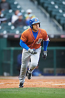 Durham Bulls left fielder Dayron Varona (3) runs to first base during a game against the Buffalo Bisons on June 13, 2016 at Coca-Cola Field in Buffalo, New York.  Durham defeated Buffalo 5-0.  (Mike Janes/Four Seam Images)