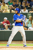 California League All-Star Leon Landry #6 of the Rancho Cucamonga Quakes at bat against the Carolina League All-Stars during the 2012 California-Carolina League All-Star Game at BB&T Ballpark on June 19, 2012 in Winston-Salem, North Carolina.  The Carolina League defeated the California League 9-1.  (Brian Westerholt/Four Seam Images)