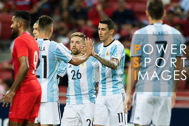 Alejandro Gomez of Argentina (C) celebrating his goal with his teammates during the International Test match between Argentina and Singapore at National Stadium on June 13, 2017 in Singapore. Photo by Marcio Rodrigo Machado / Power Sport Images