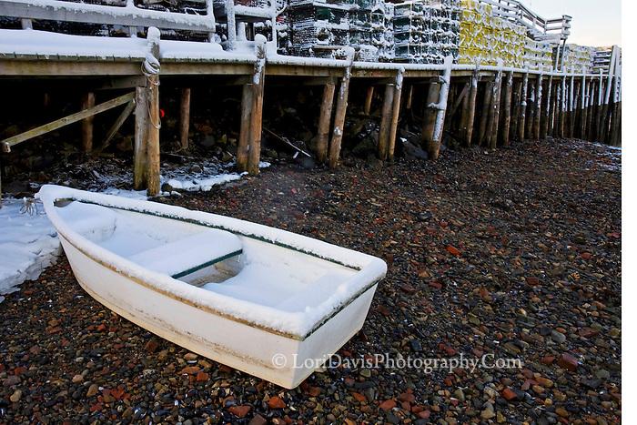 Skiff & Snowy Lobster Traps on Dock  #S19