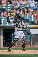 Joe Hudson (7) of the Salt Lake Bees during a game against the Fresno Grizzlies at Smith's Ballpark on September 3, 2018 in Salt Lake City, Utah. The Grizzlies defeated the Bees 7-6. (Stephen Smith/Four Seam Images)