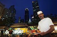 Asie/Singapour/Singapour: Boon Tat Street - Restaurant de rue - Vue nocturne