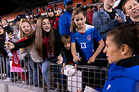 HOUSTON, TX - JANUARY 31: Carli Lloyd #10 of the United States meets with fans during a game between Panama and USWNT at BBVA Stadium on January 31, 2020 in Houston, Texas.