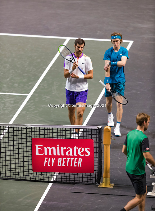 Rotterdam, The Netherlands, 4 march  2021, ABNAMRO World Tennis Tournament, Ahoy, Second round doubbles: Karen Khachanov (RUS) / Andrey Rubelv (RUS). <br />