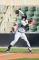 Kevin Torres (35) of the Hickory Crawdads at bat against the Kannapolis Intimidators at CMC-Northeast Stadium on May 4, 2014 in Kannapolis, North Carolina.  The Intimidators defeated the Crawdads 3-1.  (Brian Westerholt/Four Seam Images)