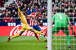 Yannick Ferreira Carrasco (R) of Atletico de Madrid shoots past Jonas Ramalho Chimeno of Girona FC during the La Liga 2017-18 match between Atletico de Madrid and Girona FC at Wanda Metropolitano on 20 January 2018 in Madrid, Spain. Photo by Diego Gonzalez / Power Sport Images