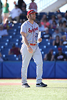 Spokane Indians Manager Matt Hagen returns to the dugout after exchanging lineups before a game against the Hillsboro Hops at Ron Tonkin Field on July 22, 2017 in Hillsboro, Oregon. Spokane defeated Hillsboro, 11-4. (Larry Goren/Four Seam Images)