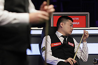 12th January 2020, Alexandra palace, London, United Kingdom; Ding Junhui of China looks at his cue during the round 1 match between Ding Junhui of China and Joe Perry of England at Snooker Masters 2020 at the Alexandra Palace . Perry won 6 frames to 3.