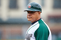 Fort Wayne TinCaps fielding coach Jhonny Carvajal (7) during a Midwest League game against the Kane County Cougars at Parkview Field on May 1, 2019 in Fort Wayne, Indiana. Fort Wayne defeated Kane County 10-4. (Zachary Lucy/Four Seam Images)