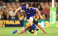 17th July 2021; Brisbane, Australia;  France's Pierre-Louis Barassi hands off as he is tackled by Alaalatoa (Aus) during the Australia versus France, 3rd Rugby Test at Suncorp Stadium, Brisbane, Australia on Saturday 17th July 2021.