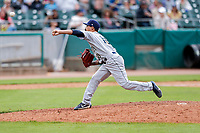 Montgomery Biscuits relief pitcher Ivan Pelaez (10) delivers a pitch to the plate against the Tennessee Smokies on May 9, 2021, at Smokies Stadium in Kodak, Tennessee. (Danny Parker/Four Seam Images)