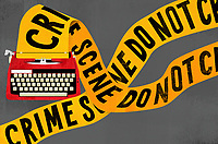 Crime scene barrier tape emerging from typewriter ExclusiveImage