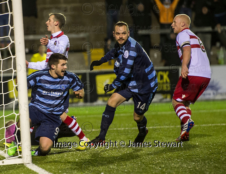 Forfar's Martyn Fotheringham (14) celebrates after he scores their second goal.