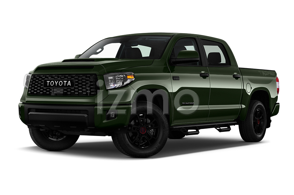 Stock pictures of low aggressive front three quarter view of 2020 Toyota Tundra TRD-Pro 4 Door Pick-up Low Aggressive