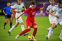ORLANDO, FL - FEBRUARY 21: Jessie Fleming #17 of the CANWNT kicks the ball during a game between Argentina and Canada at Exploria Stadium on February 21, 2021 in Orlando, Florida.