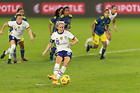 ORLANDO, FL - JANUARY 22: Megan Rapinoe #15 takes a penalty kick during a game between Colombia and USWNT at Exploria stadium on January 22, 2021 in Orlando, Florida.