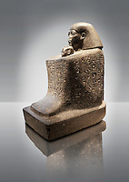 Ancient Egyptian granite block statue of the steward Senenmut and the princess Nefrure from Thebes. 18th Dynasty 1475 BC. Neues Museum Berlin AM 2296.