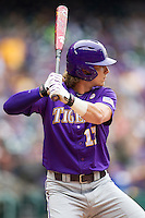 LSU Tigers outfielder Jared Foster (17) at bat during the NCAA baseball game against the Baylor Bears on March 7, 2015 in the Houston College Classic at Minute Maid Park in Houston, Texas. LSU defeated Baylor 2-0. (Andrew Woolley/Four Seam Images)