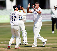 Mitch Claydon (R) of Sussex is congratulated by Tom Clark after he took the wicket of Daniel Bell-Drummond during Kent CCC vs Sussex CCC, Bob Willis Trophy Cricket at The Spitfire Ground on 9th August 2020