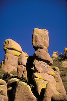 "Chiricahua National Monument, the """"Wonderland of Rocks"""", is in the Chiricahua Mountains at an elevation ranging from 5,100 to 7,800 ft. The mountains feature rock spires, stone columns, and huge balanced rocks sculpted by millions of years of erosion n. W"