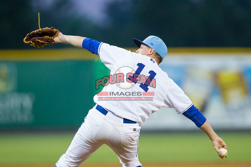 Burlington Royals relief pitcher Todd Eaton (11) in action against the Princeton Rays at Burlington Athletic Park on July 9, 2014 in Burlington, North Carolina.  The Rays defeated the Royals 3-0.  (Brian Westerholt/Four Seam Images)