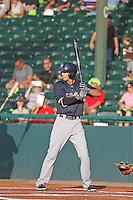 Tampa Yankees infielder Tyler Wade (17) at bat during a game against the Daytona Tortugas at Radiology Associates Field at Jackie Robinson Ballpark on June 13, 2015 in Daytona, Florida. Tampa defeated Daytona 8-6. (Robert Gurganus/Four Seam Images)