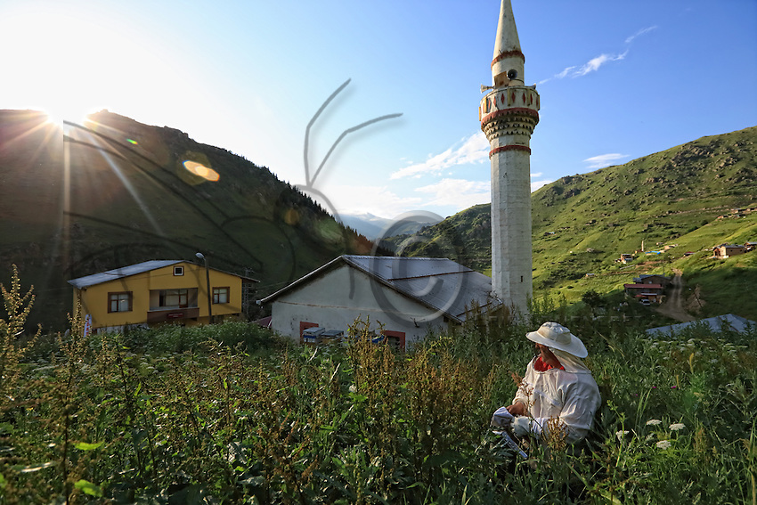 In the village of Anzer, Aslam Emin Arican has set up some hives behind the mosque.///Au village d'Anzer, derrière la mosquée, Aslam Emin Arican a installé quelques ruches.