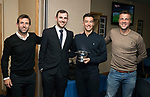 Dave Mackay Testimonial: St Johnstone v Dundee…06.10.17…  McDiarmid Park… <br />Dave Mackay pictured at the presentation with Dundee boss Neil McCann, Cammy Kerr and Dundee Assistant Manager Graham Gartland<br />Picture by Graeme Hart. <br />Copyright Perthshire Picture Agency<br />Tel: 01738 623350  Mobile: 07990 594431