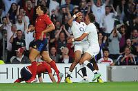 Anthony Watson of England celebrates scoring the opening try with team mate Henry Slade of England - 15/08/2015 - Twickenham Stadium - London <br /> Mandatory Credit: Rob Munro/Stewart Communications