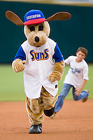 """""""Southpaw"""" races a young fan around the bases at the Baseball Grounds in Jacksonville, FL, Wednesday June 11, 2008."""