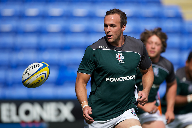 Bryn Evans of London Irish warms up before the Aviva Premiership match between London Irish and Gloucester Rugby at the Madejski Stadium on Saturday 8th September 2012 (Photo by Rob Munro)