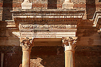 Portico & Ionic columns of the Bath Gymnasium complex of Sardis, a typical example of the colonnaded palaestra front of a Hellenistic 1st cent. AD Greco Roman baths of the western & southern region of Anatolia. Sardis archaeological site, Hermus valley, Turkey. A Harvard Art Museum excavation project.