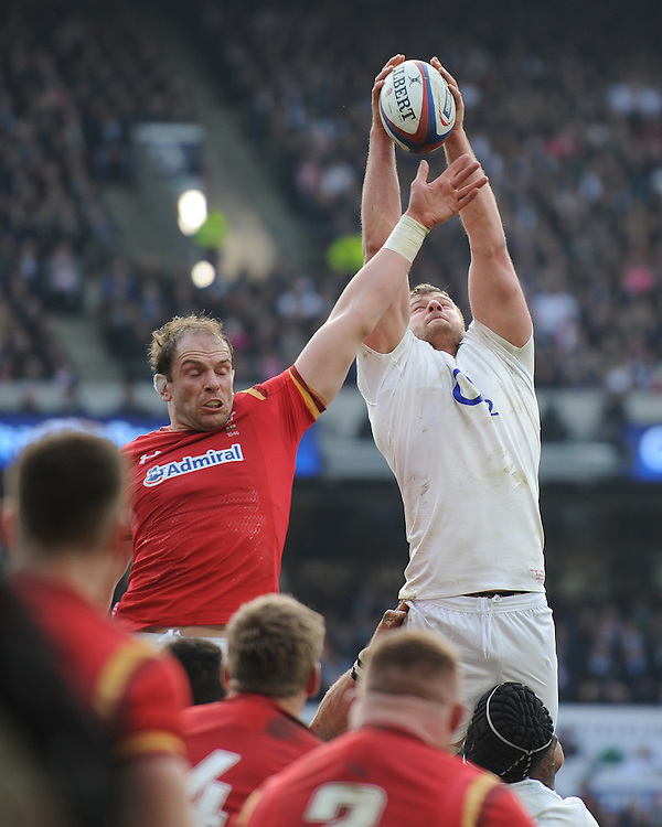 George Kruis of England outjumps Alun Wyn Jones of Wales in the lineout during the RBS 6 Nations match between England and Wales at Twickenham Stadium on Saturday 12th March 2016 (Photo: Rob Munro/Stewart Communications)