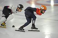 SCHAATSEN: HEERENVEEN: 23-01-2018, IJsstadion Thialf, training Shorttrack, olympisch tenue Sjinkie Knegt, ©foto Martin de Jong
