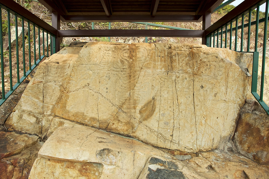 Now protected from the elements, the rock carving at Big Wave Bay, Hong Kong Island.  The age is unknown but these carvings are certainly very old.