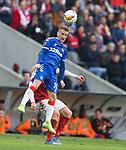 26.02.2020 SC Braga v Rangers: Steven Davis wins the ball