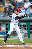 Lonnie Chisenhall (13) of the Indianapolis Indians at bat at Victory Field on May 14, 2019 in Indianapolis, Indiana. The Indians defeated the RailRiders 4-2. (Andrew Woolley/Four Seam Images)