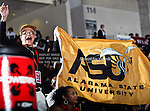 Alabama State Hornets fans in action during the SWAC Championship game between the Alabama State Hornets and the Grambling State Tigers at the Special Events Center in Garland, Texas. Alabama State defeats Grambling State 65 to 48.