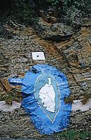 Europe/France/Corse/2B/Haute-Corse/Cap Corse: Détail d'un rocher peint
