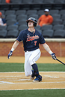Devin Ortiz (7) of the Virginia Cavaliers follows through on his swing against the Wake Forest Demon Deacons at David F. Couch Ballpark on May 19, 2018 in  Winston-Salem, North Carolina. The Demon Deacons defeated the Cavaliers 18-12. (Brian Westerholt/Four Seam Images)