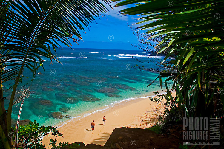 Crystal clear waters of Hideaways Beach, in Princeville, North Shore of Kauai