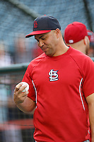 Carlos Beltran #3 of the St. Louis Cardinals before a game against the Los Angeles Angels at Angel Stadium on July 3, 2013 in Anaheim, California. (Larry Goren/Four Seam Images)