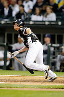 August 7, 2009:  Third Baseman Gordon Beckham (15) during an at bat vs. the Cleveland Indians at U.S. Cellular Field in Chicago, IL.  The Indians defeated the White Sox 6-2.  Photo By Mike Janes/Four Seam Images