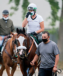 June 19, 2020: Belmont Stakes favorite Tiz The Law is walked back to the barn after exercising as horses prepare for the Belmont Stakes at Belmont Park in Elmont, New York. Scott Serio/Eclipse Sportswire/CSM