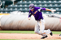 Eric Stamets (8) of the Evansville Purple Aces tries to steal second base during a game against the Missouri State Bears at Hammons Field on May 12, 2012 in Springfield, Missouri. (David Welker/Four Seam Images)