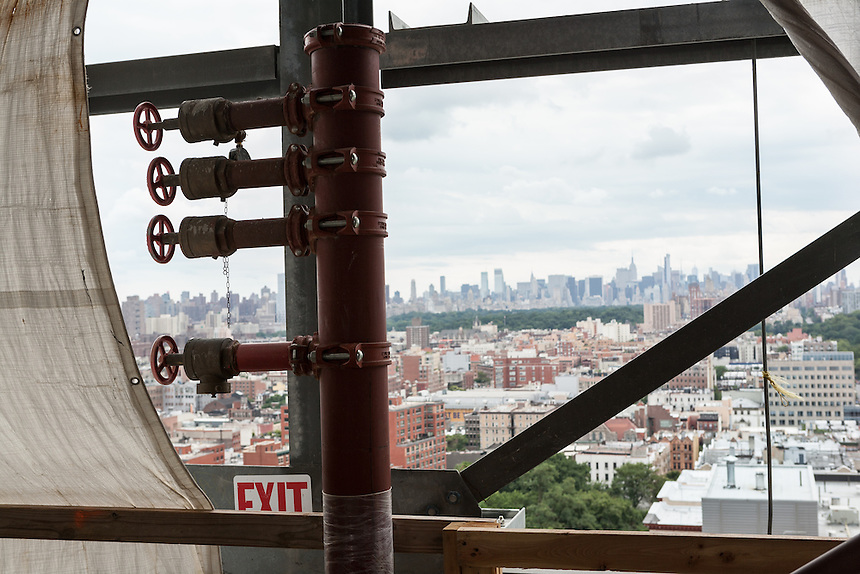 Manhattan skyline as seen from inside The Advanced Science Research Center under construction at CCNY.  Photo by Ari Mintz  8/7/2013.