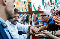 "Italian far-right League party's leader Matteo Salvini greets fans at the end of the so-called ""Italian Pride!"" political rally against government's economic policies in St. John Lateran Square, Rome, Italy, October 19, 2019.<br /> Update Images Press/Riccardo De Luca"