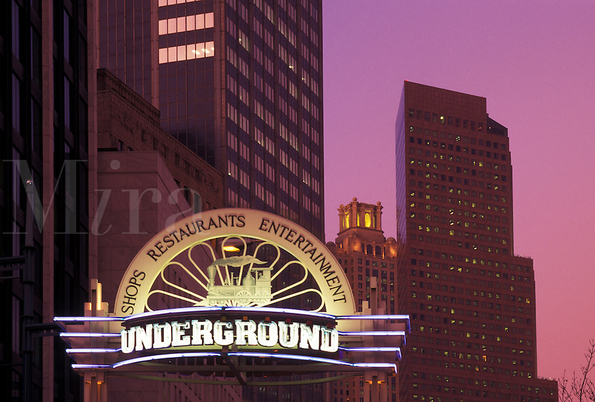 Underground Atlanta, Atlanta, GA, Georgia, Entrance to Underground Atlanta in downtown Atlanta in the evening.