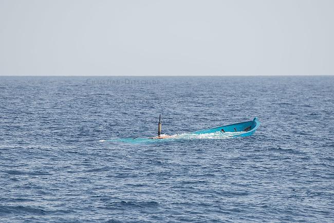 Sea Watch-2.<br /> Die Sea Watch-2 bei ihrer 13. SAR-Mission vor der libyschen Kueste.<br /> Im Bild: Ein verlassenes Holzboot. Die Gefluechtten sind von einem SAR-Schiff geborgen worden und das Holzboot wurde versenkt.<br /> 22.10.2016, Mediterranean Sea<br /> Copyright: Christian-Ditsch.de<br /> [Inhaltsveraendernde Manipulation des Fotos nur nach ausdruecklicher Genehmigung des Fotografen. Vereinbarungen ueber Abtretung von Persoenlichkeitsrechten/Model Release der abgebildeten Person/Personen liegen nicht vor. NO MODEL RELEASE! Nur fuer Redaktionelle Zwecke. Don't publish without copyright Christian-Ditsch.de, Veroeffentlichung nur mit Fotografennennung, sowie gegen Honorar, MwSt. und Beleg. Konto: I N G - D i B a, IBAN DE58500105175400192269, BIC INGDDEFFXXX, Kontakt: post@christian-ditsch.de<br /> Bei der Bearbeitung der Dateiinformationen darf die Urheberkennzeichnung in den EXIF- und  IPTC-Daten nicht entfernt werden, diese sind in digitalen Medien nach §95c UrhG rechtlich geschuetzt. Der Urhebervermerk wird gemaess §13 UrhG verlangt.]